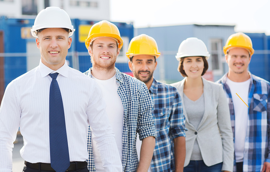 Group photo of workers in hard hats